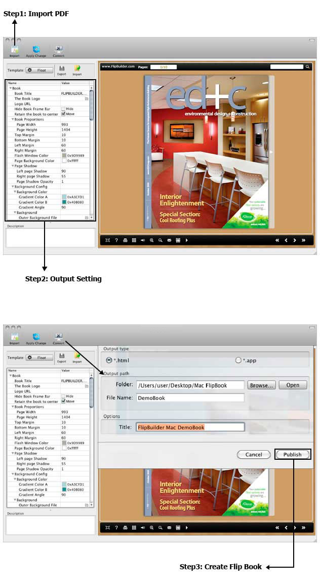 Importation and Customization in Flipbook Creator for Mac